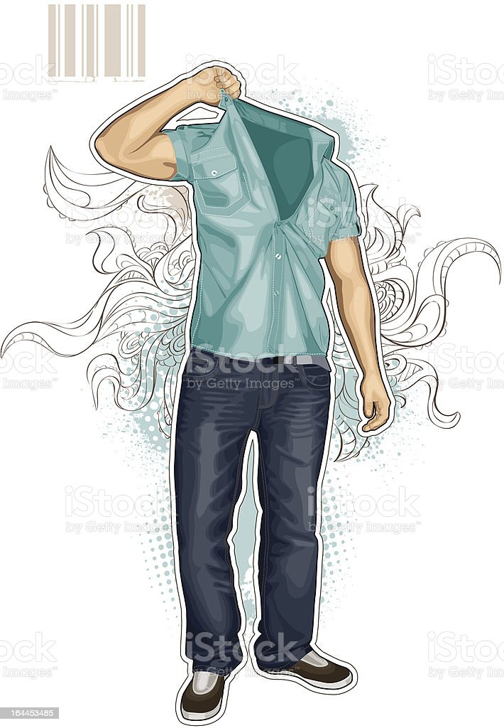 Abstract vector illustration of man without head royalty-free stock vector art
