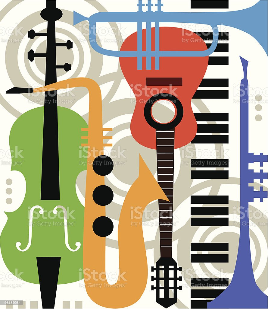 Abstract vector music instruments royalty-free stock vector art