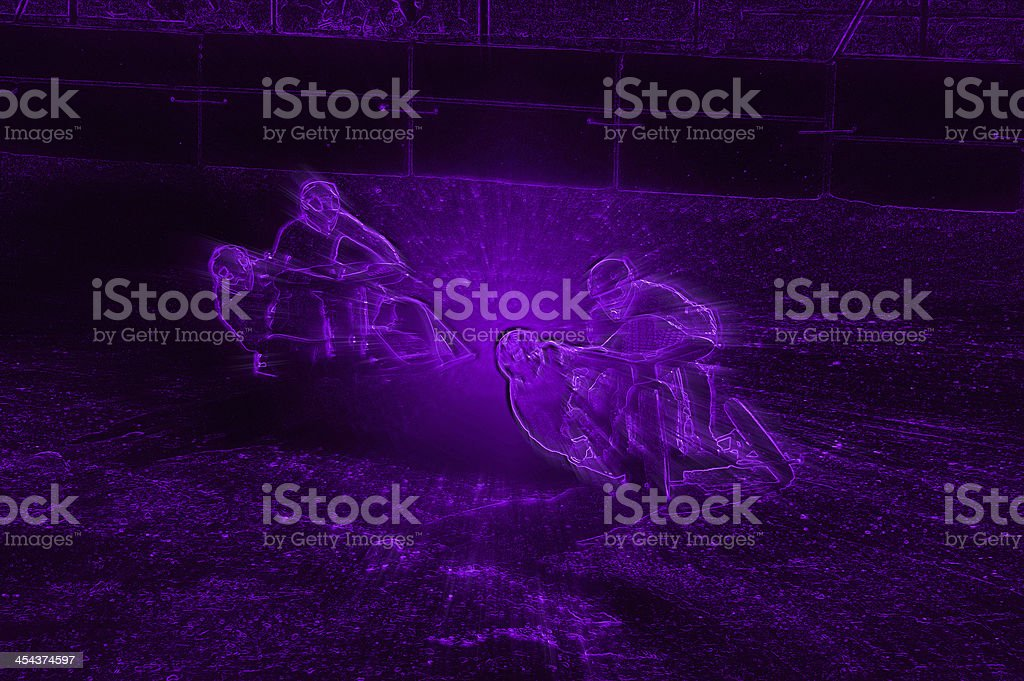Abstract Violet Neon Dirt Track Sidecar Motorcycle Racers royalty-free stock vector art