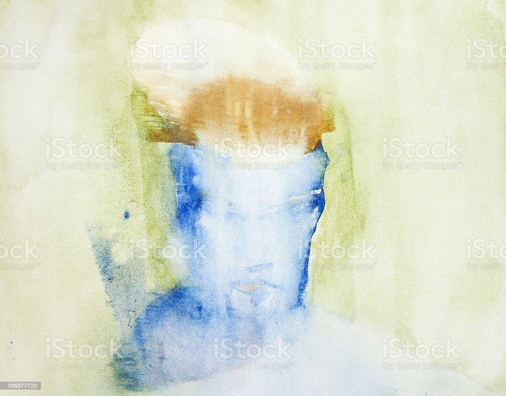 Abstract water color painting of a woman's face in blue vector art illustration