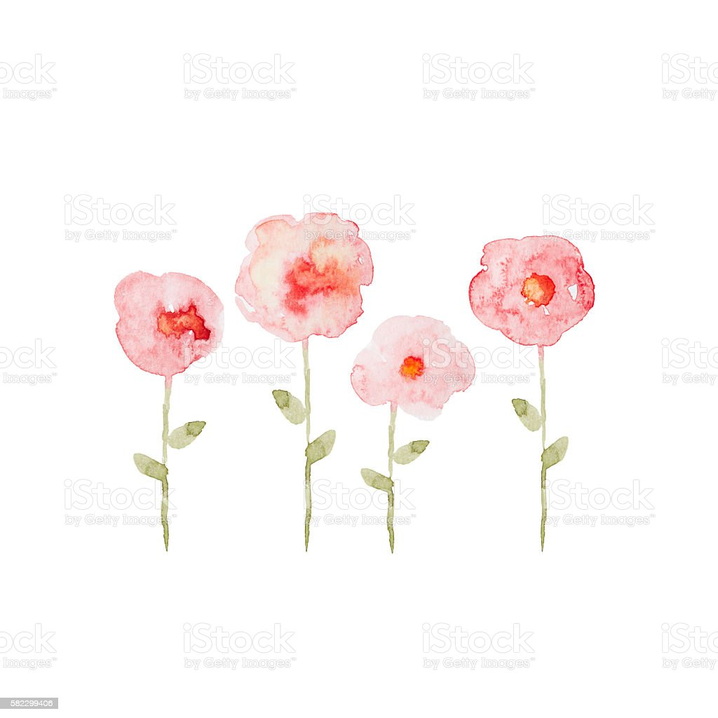 Abstract Watercolor Flowers (hand drawn) vector art illustration