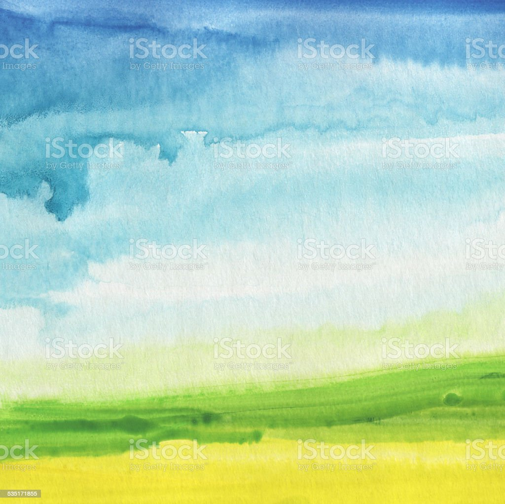 Abstract watercolor hand painted landscape background. vector art illustration