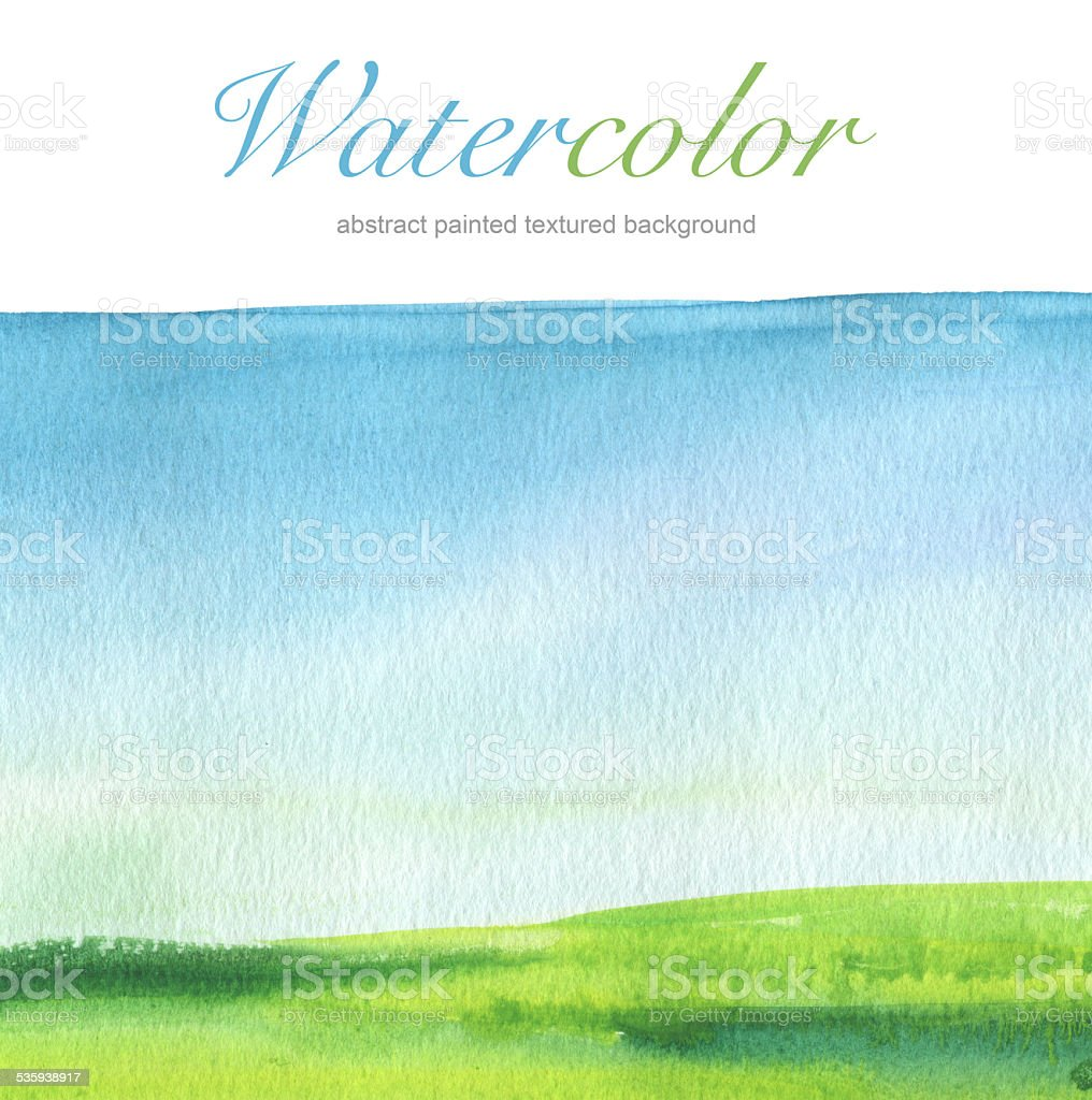 Abstract watercolor hand painted landscape background. Textured paper. vector art illustration