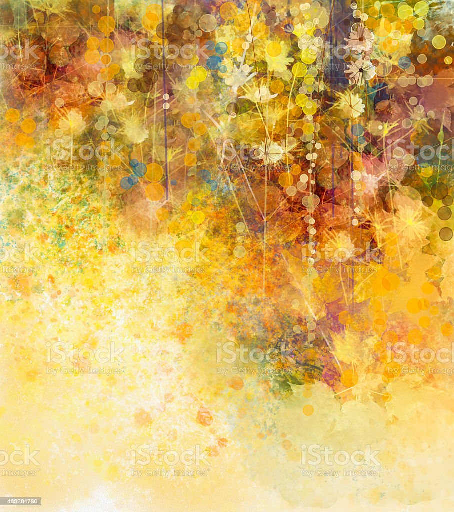 Abstract Watercolor painting, white flowers and soft color leaves....