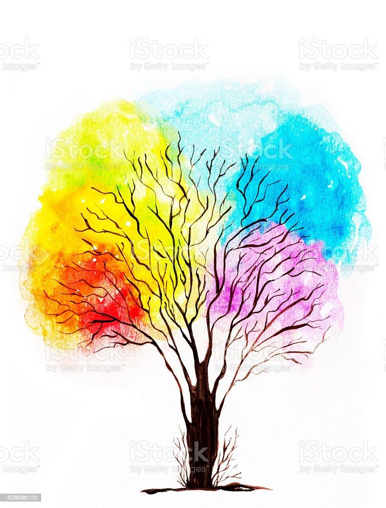 Abstract Watercolor Tree vector art illustration