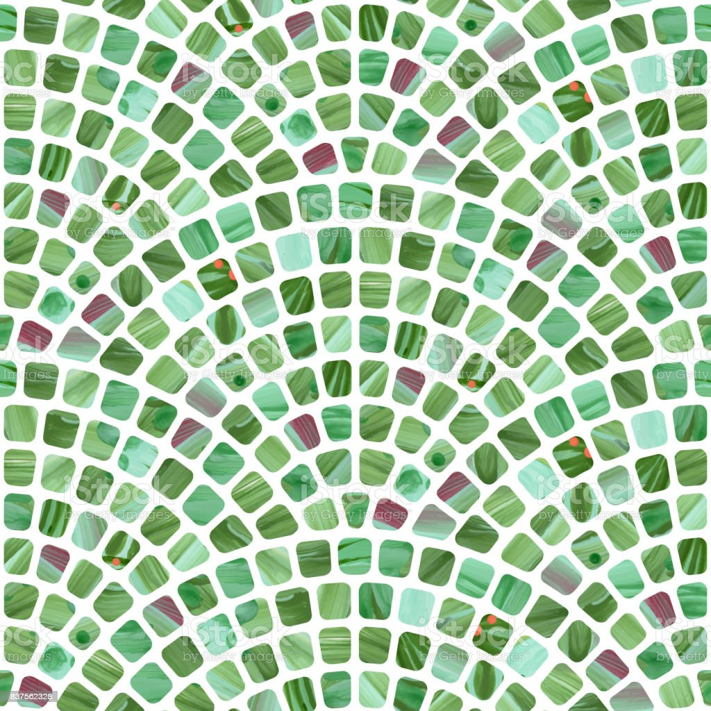 Abstract wavy seamless geometrical pattern from small spotted squares with green watercolor texture on a light white background. Floor tile, wallpaper, wrapping paper, page fill in Mediterranean ceramic mosaic style vector art illustration