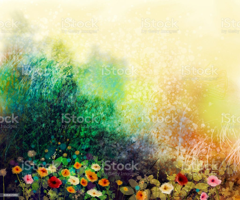 Abstract wildflowers, watercolor painting flower in meadows. Hand...