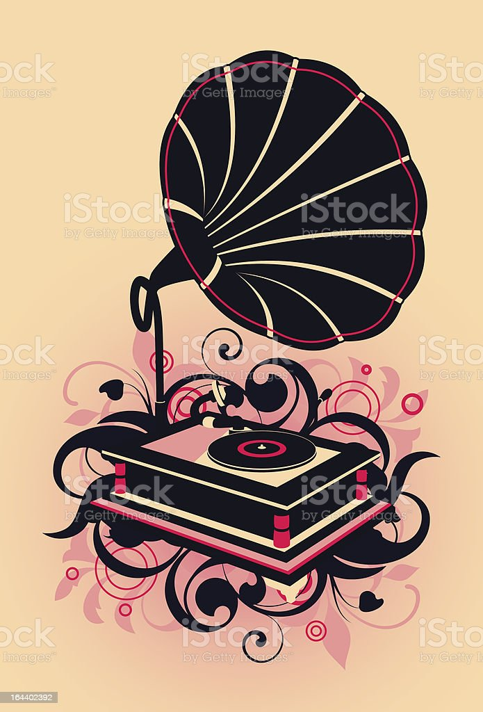 abstract with gramophone royalty-free stock vector art