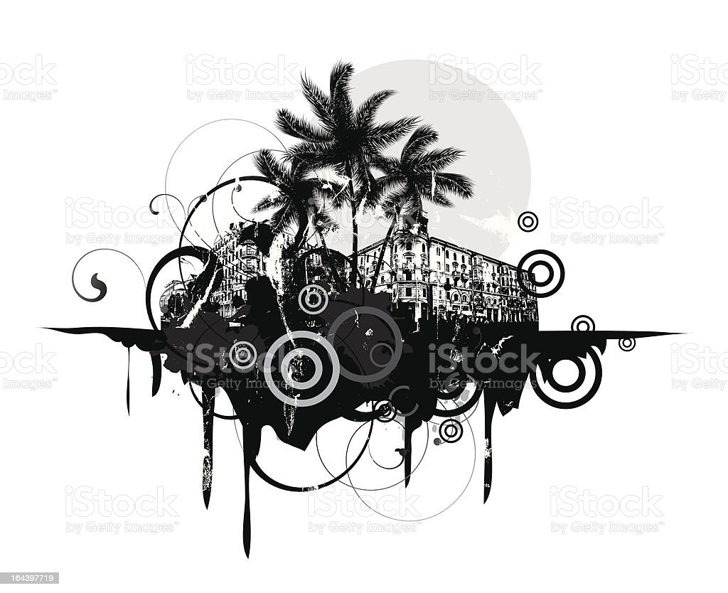 Abstract with palm trees royalty-free stock vector art