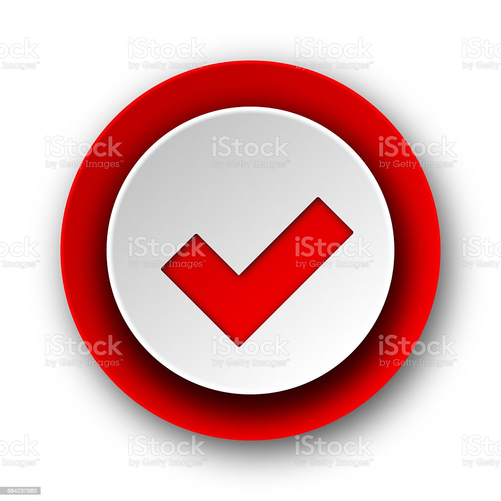 accept red modern web icon on white background stock photo