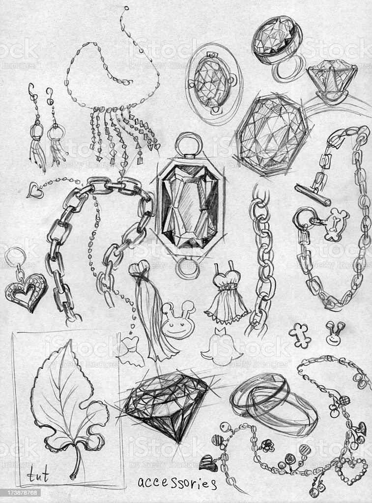 accessory. diamond doodles vector art illustration