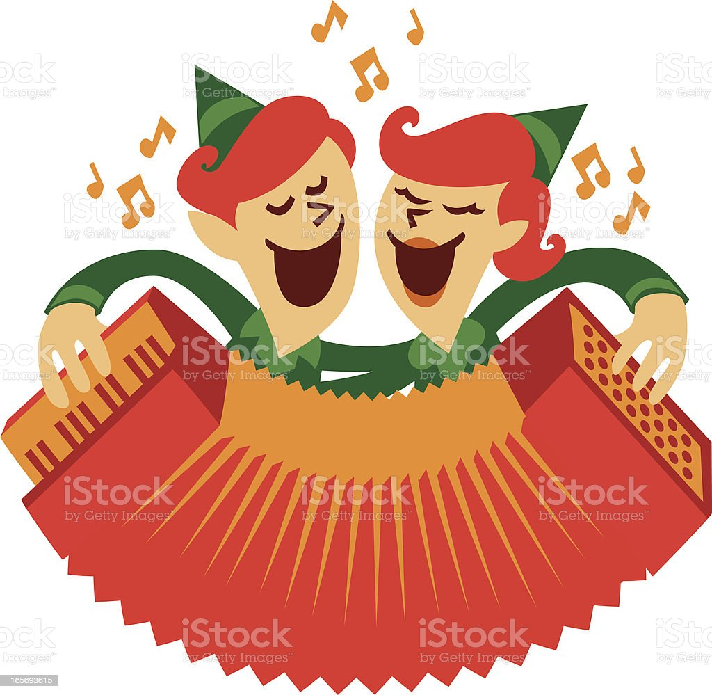 accordion elves royalty-free stock vector art