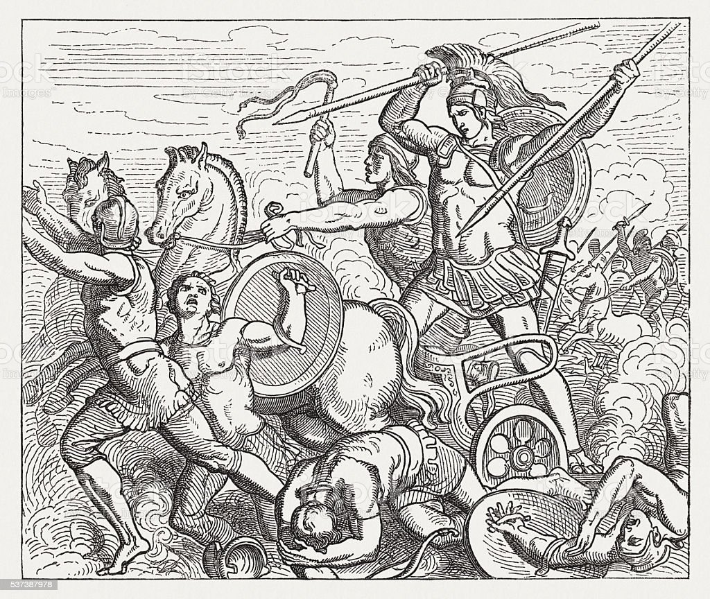 Achilles assailed Hector, Greek mythology, wood engraving, published in 1880 vector art illustration