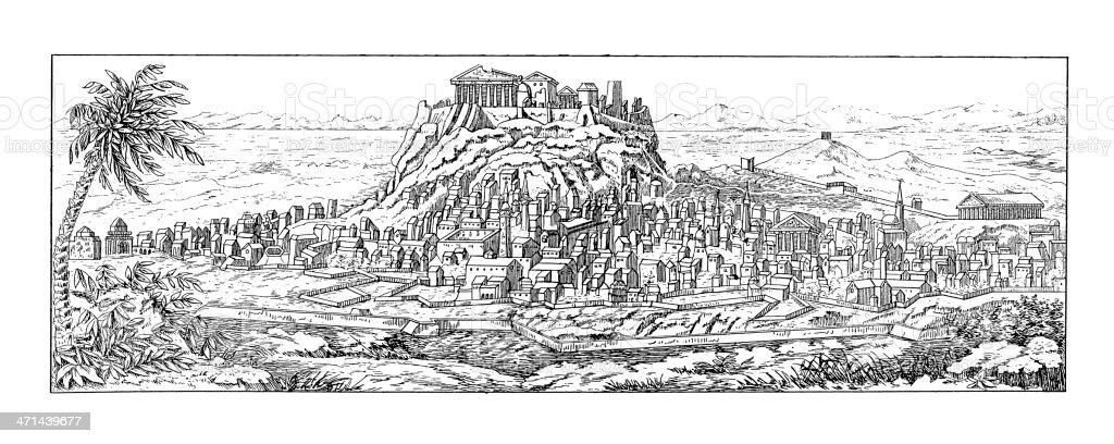 Acropolis of Athens, Greece | Antique Architectural Illustrations vector art illustration