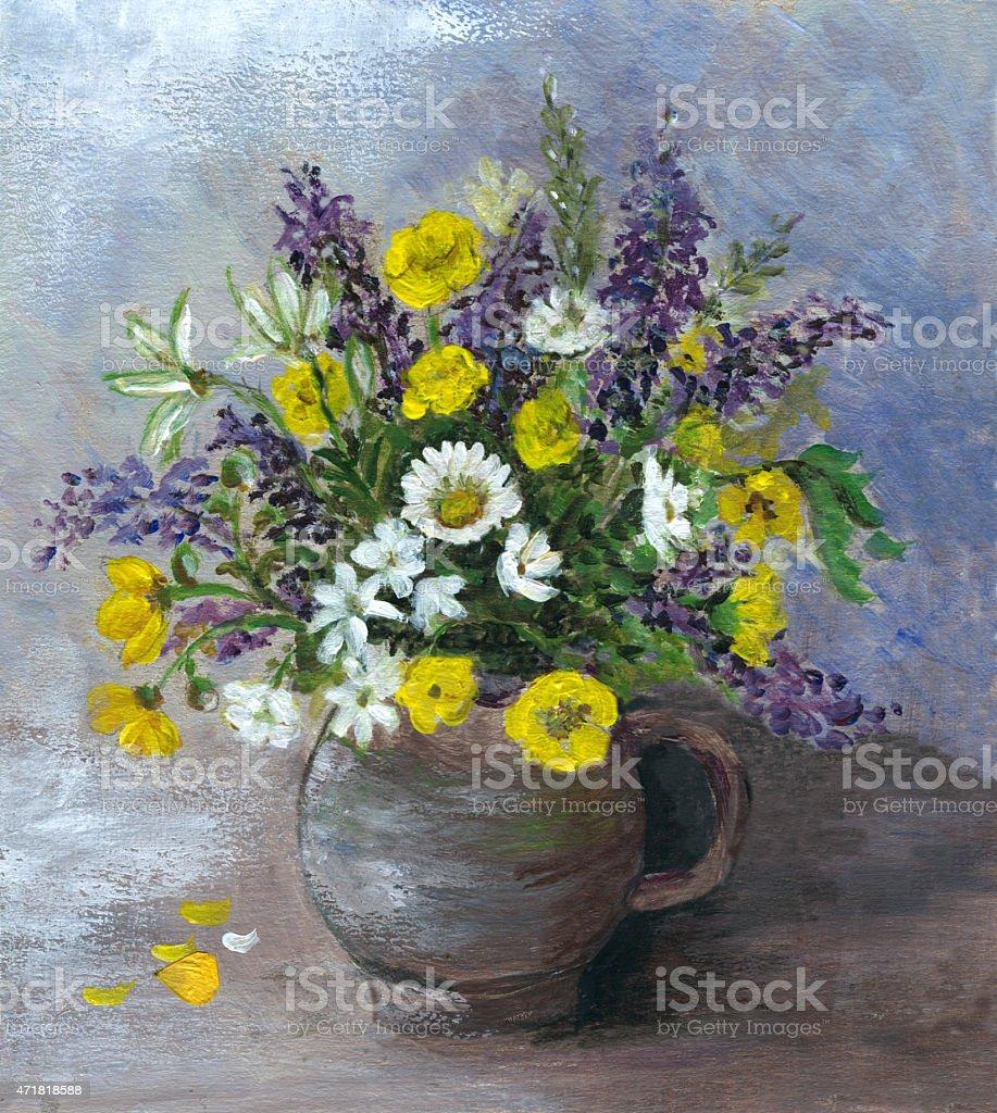 Acrylic painted multicolored wild flowers arrangement in ceramic vase vector art illustration