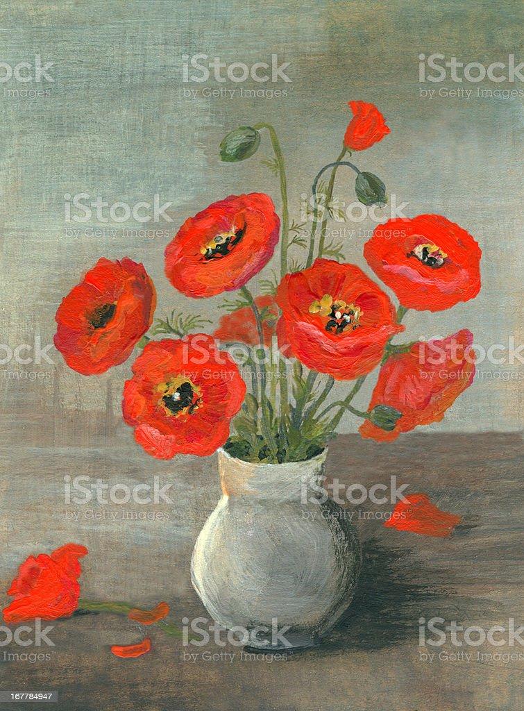 Acrylic painted poppy flowers arrangement vector art illustration
