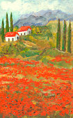 Acrylic painted poppy flowers landscape in Tuscany, Italy