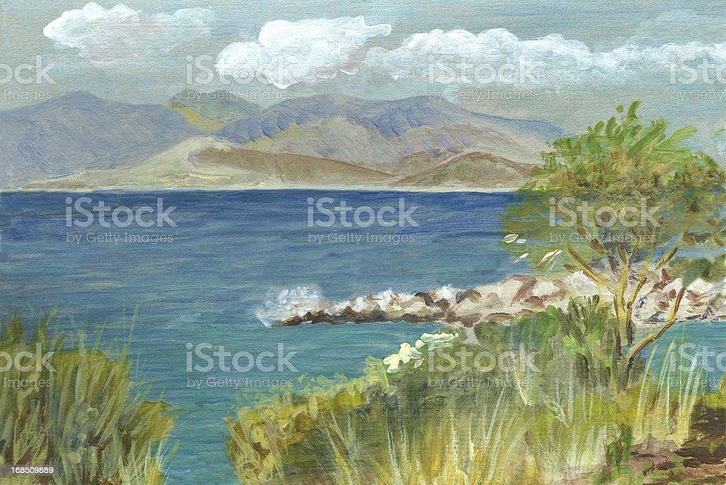 Acrylic painted seascape in Corfu, Greece vector art illustration