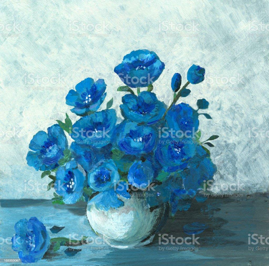 Acrylic painting of a still life in blue (flower arrangement) vector art illustration