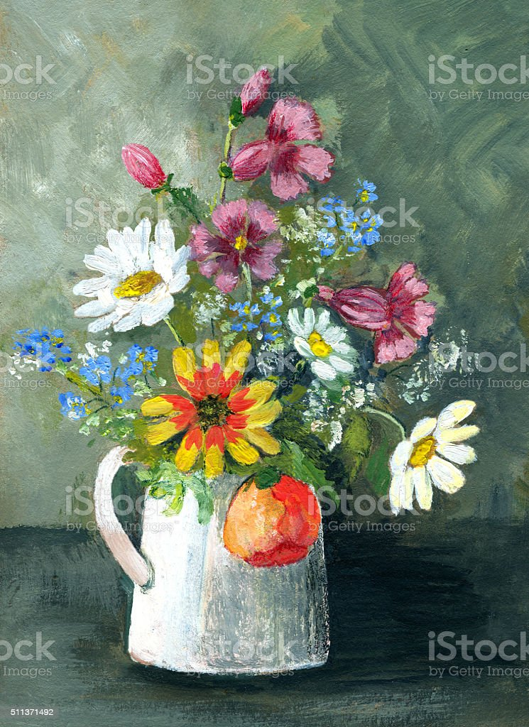 Acrylic painting of multicolored wild flowers in white vase vector art illustration