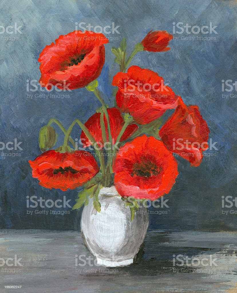 Acrylic painting of poppy flower arrangement vector art illustration