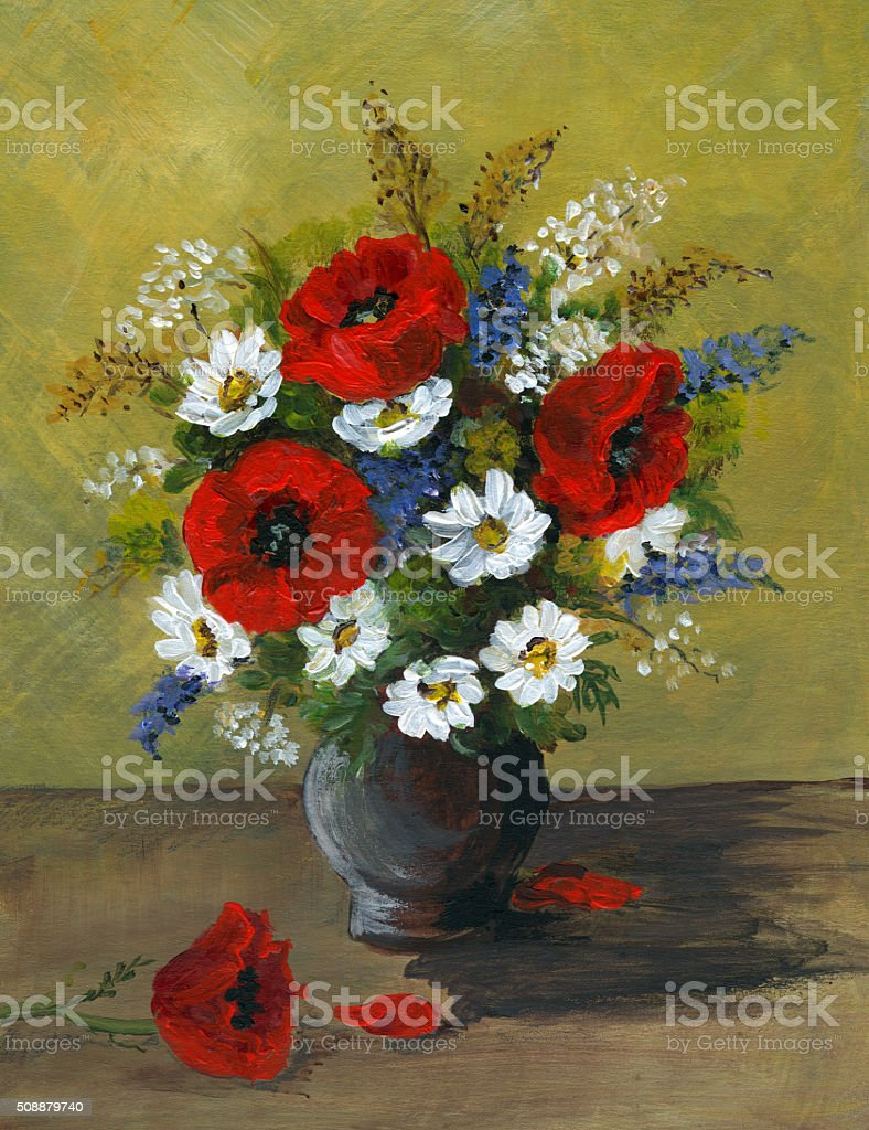 Acrylic painting of wild flowers arrangement in ceramic vase vector art illustration