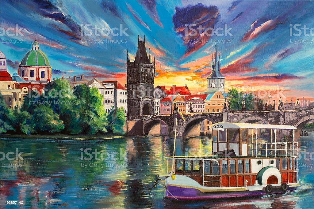 Acrylic painting 'Prague's fairytales' vector art illustration