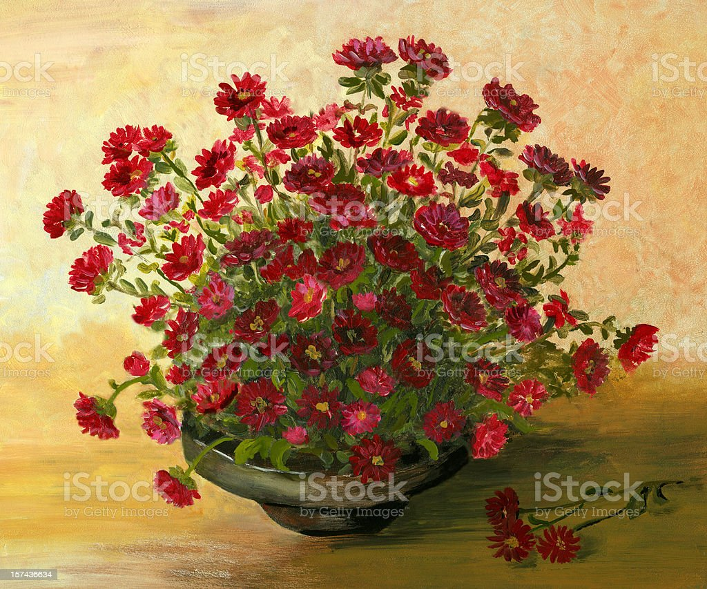 Acrylic Painting  with Red  Little  Flowers Arrangement vector art illustration