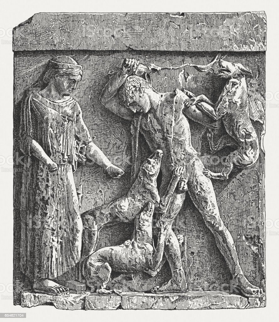 Actaeon being devoured by Artemis' dogs, Selinunte, 5th century BC vector art illustration