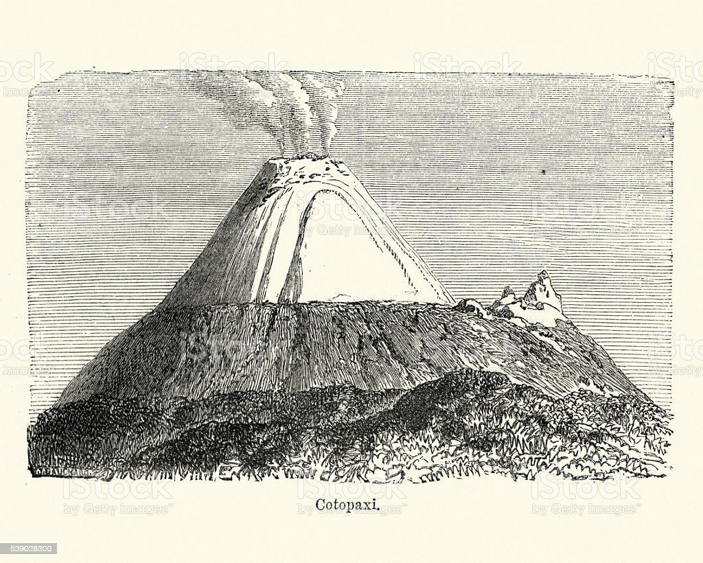 Active stratovolcano - Cotopaxi vector art illustration