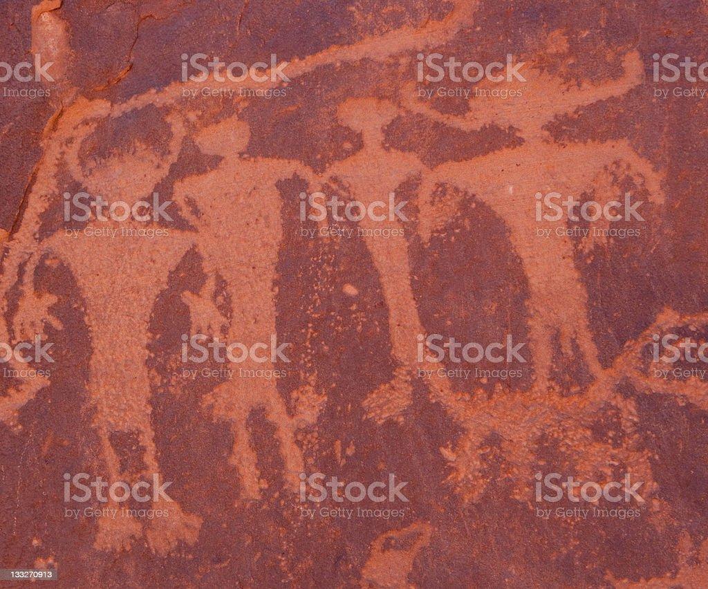Actual Indian Petroglyphs of family royalty-free stock vector art