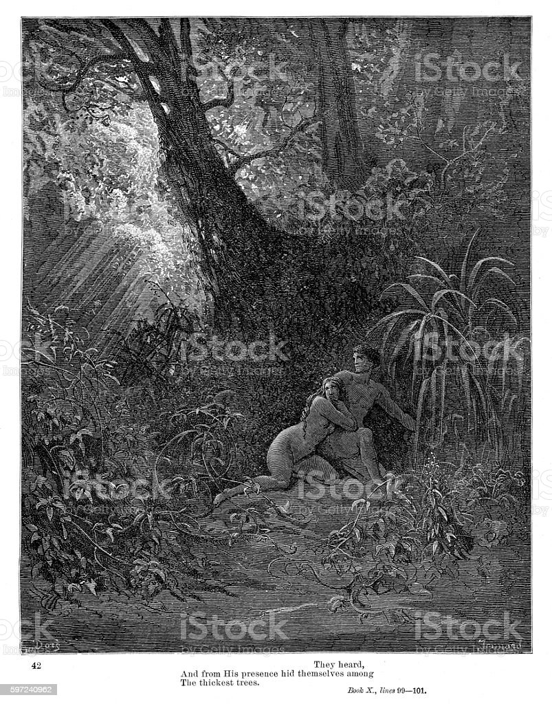 Adam and Eve 1885 vector art illustration