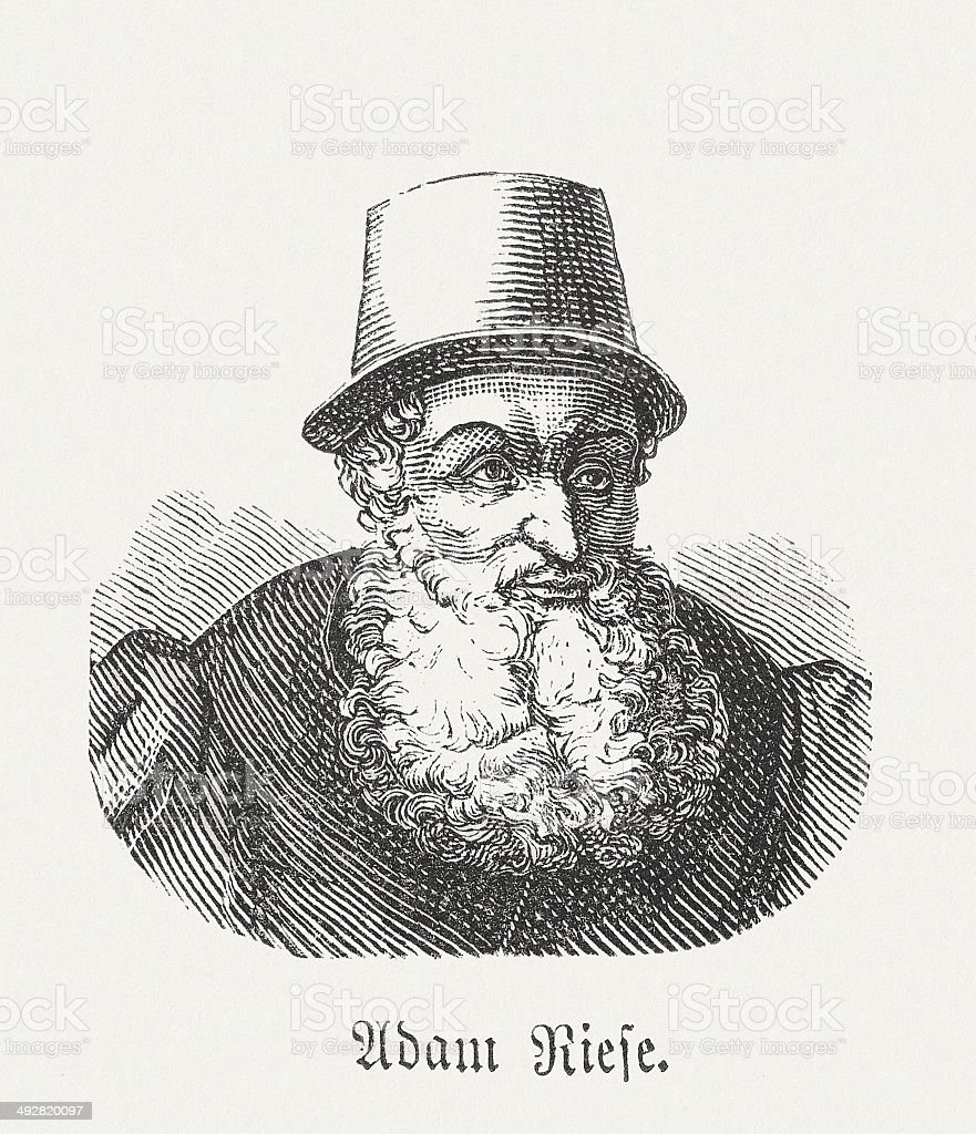 Adam Riese (1492-1559), German mathematician, wood engraving, published in 1881 royalty-free stock vector art