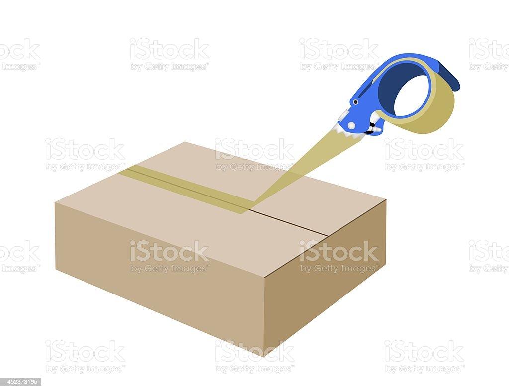 Adhesive Tape Dispenser Closing A Cardboard Box royalty-free stock vector art