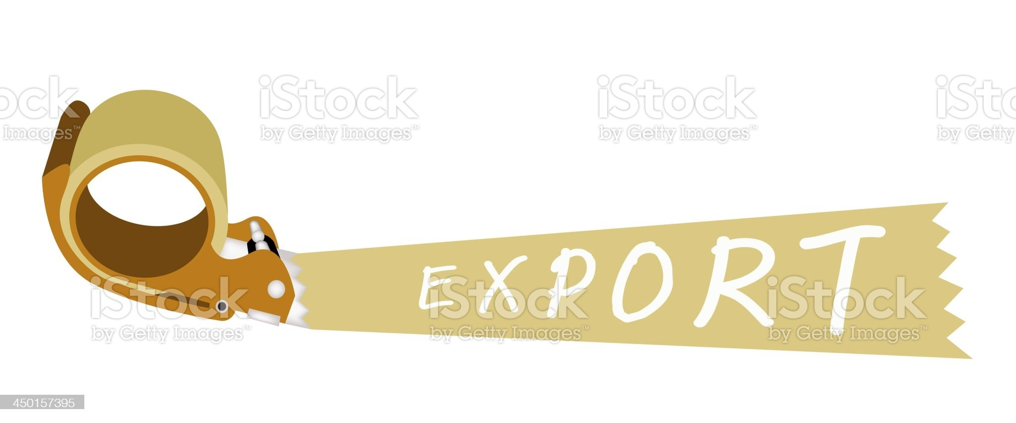 Adhesive Tape Dispenser With A Word Export royalty-free stock vector art