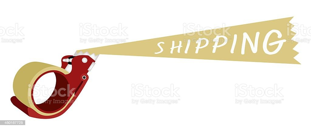 Adhesive Tape Dispenser With A Word Shipping royalty-free stock vector art