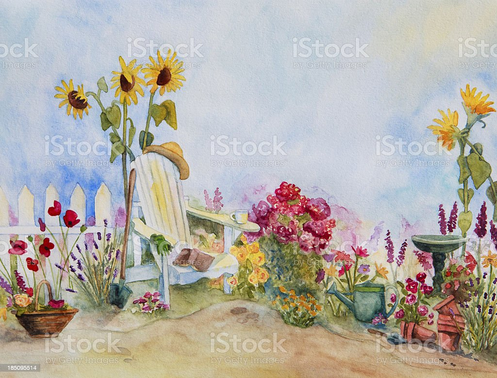 Adirondack Chair in Blooming Garden vector art illustration