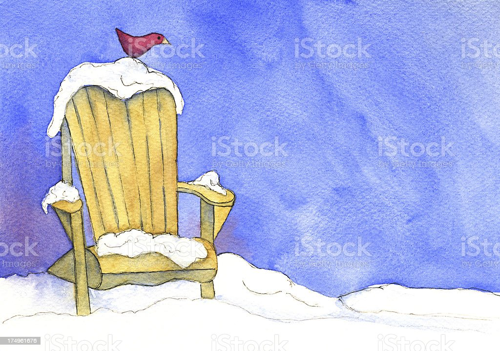 Adirondack Chair in Snow with Bird vector art illustration