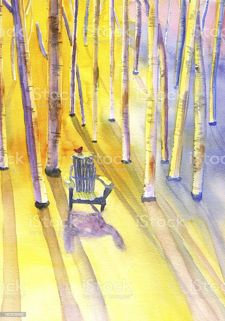 Adirondack Chair in Snowy Forest vector art illustration