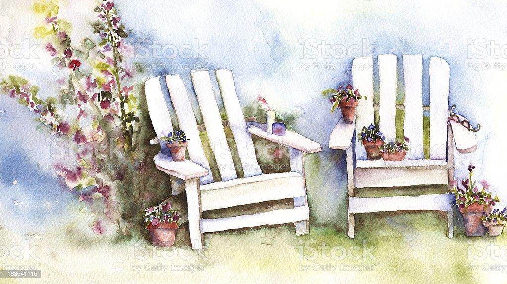 Adirondack Chairs with Hollyhocks vector art illustration