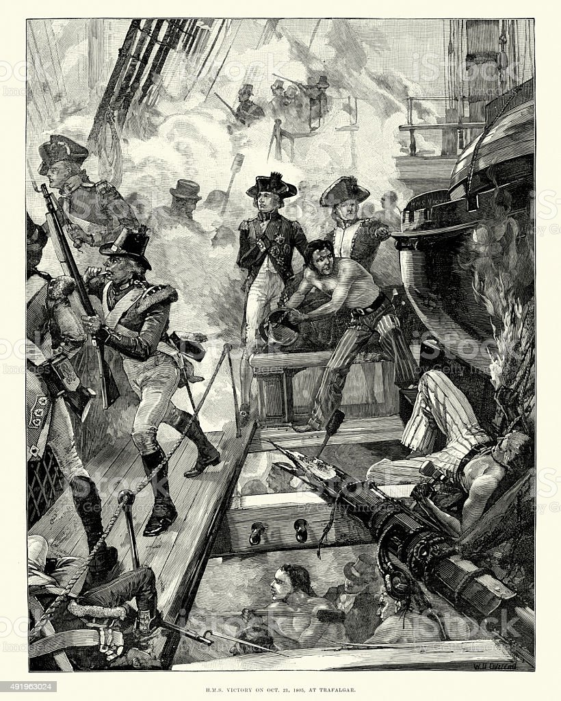 Admiral Nelson and HMS Victory at the Battle of Trafalgar vector art illustration