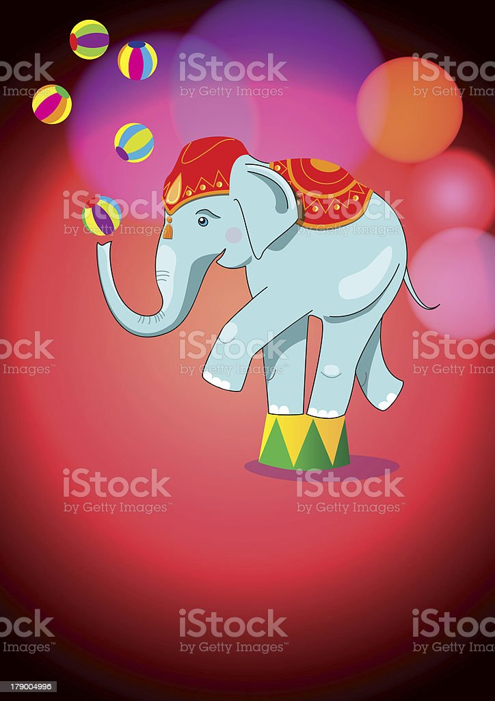 Adorable circus elephant balancing on stand royalty-free stock vector art