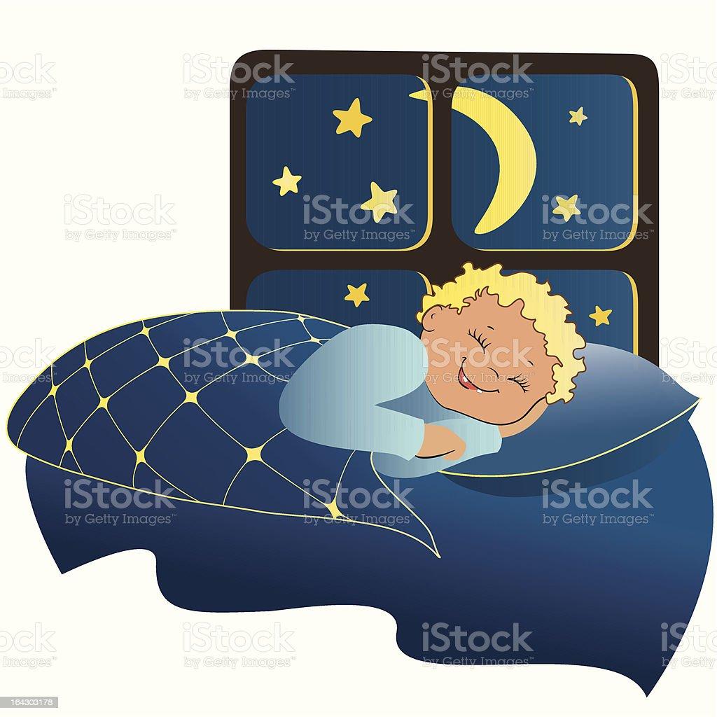 Adorável menino dormir vetor e ilustração royalty-free royalty-free
