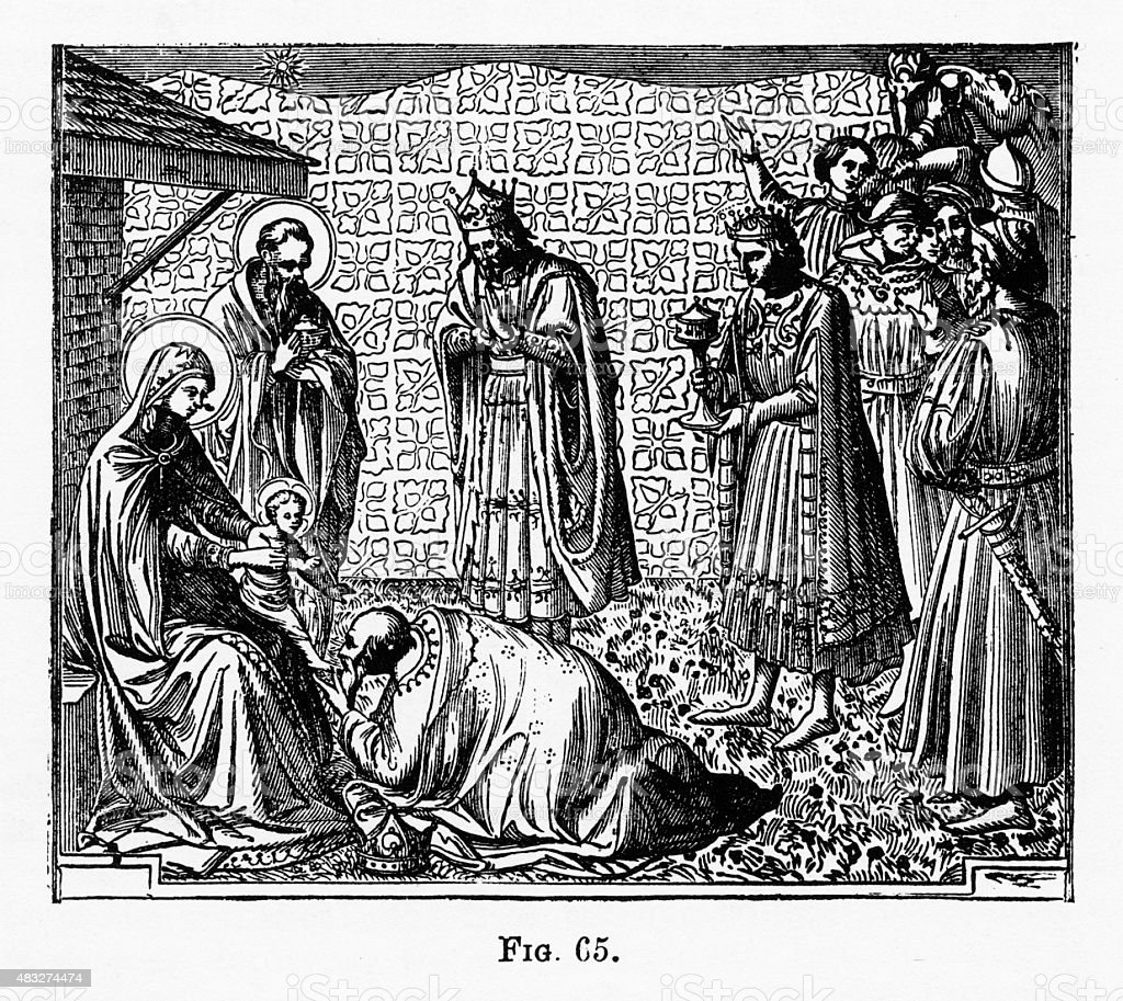 Adoration of the Mag, Nativity Christian Symbolism Engraving vector art illustration