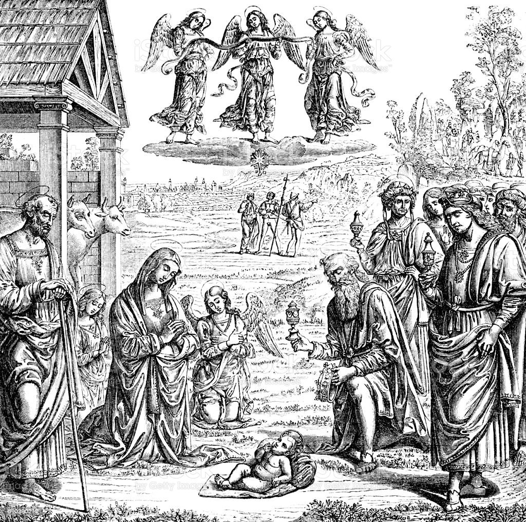 Adoration of the Magi vector art illustration