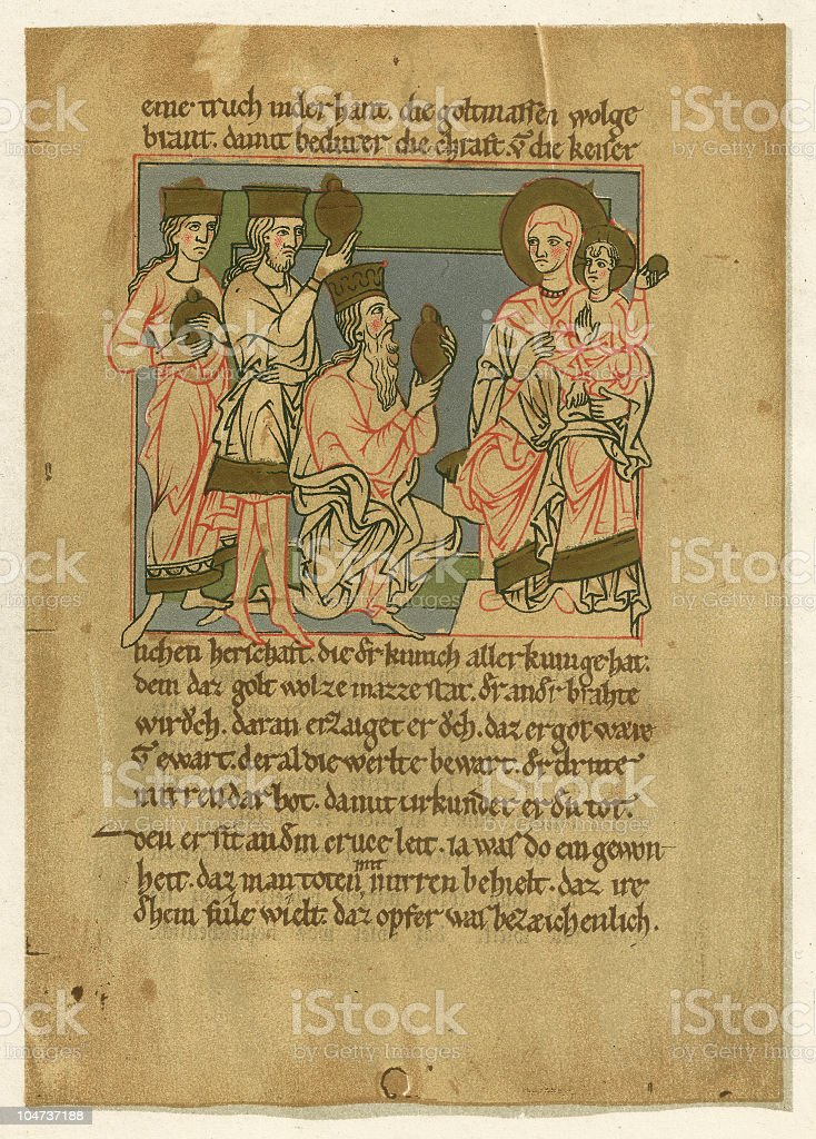 Adoration of the Magi, manuscript Wernhers von Tegernsee, 12th century vector art illustration