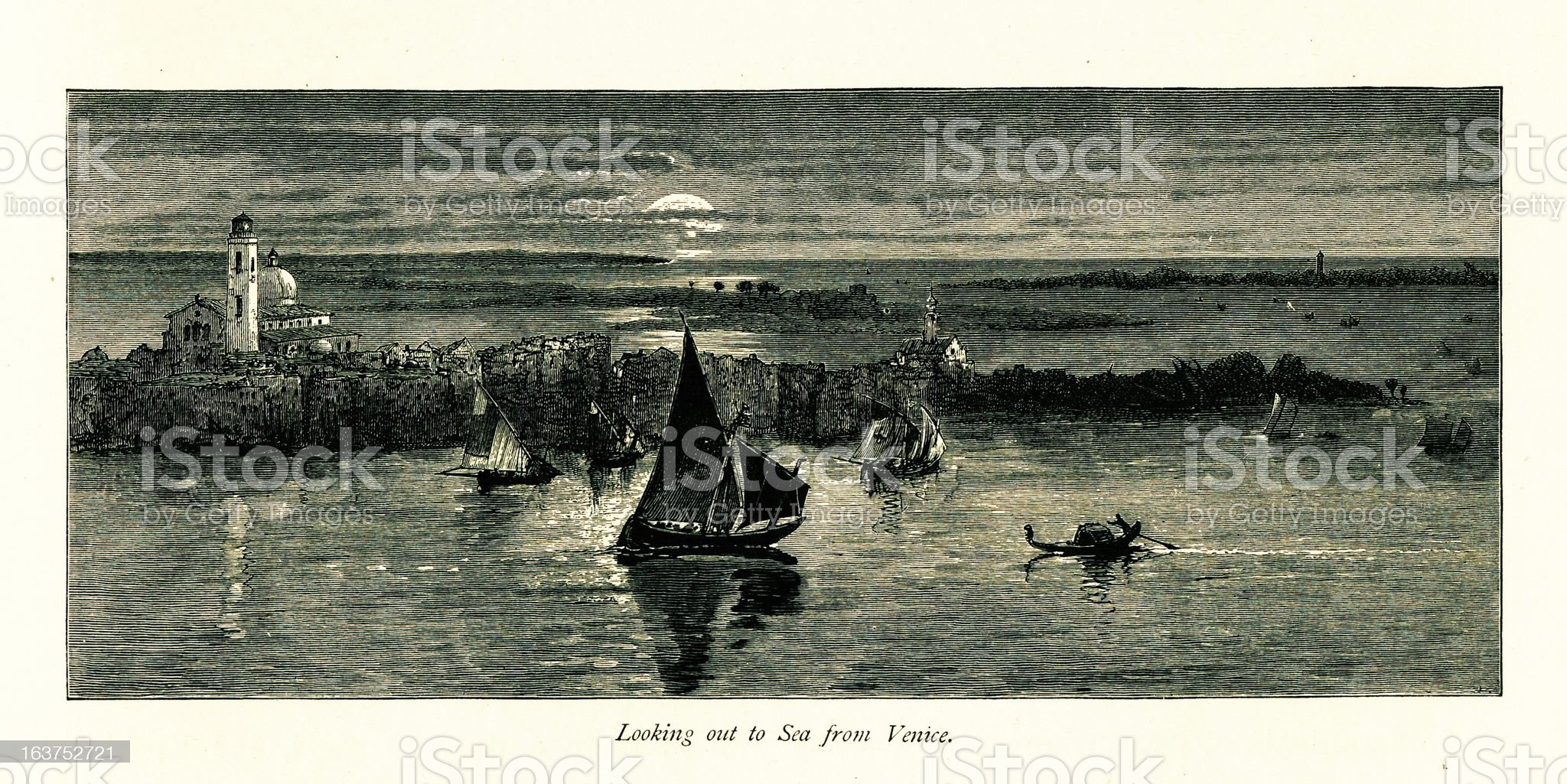 Adriatic Sea, Venice, Italy I Antique European Illustrations royalty-free stock vector art