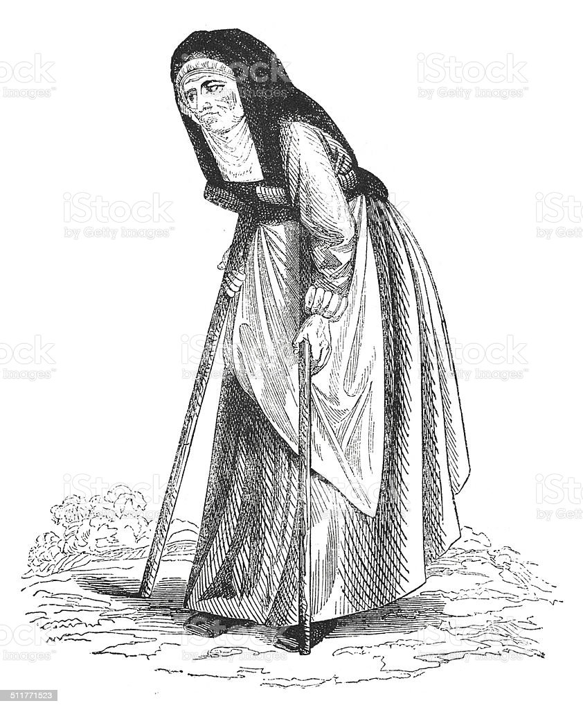 Adulthood represented as an old lady (antique engraving) vector art illustration