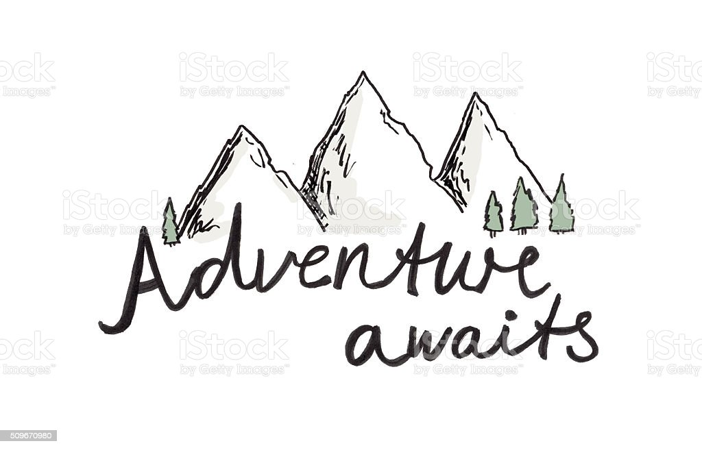 Adventure mountain background concept vector art illustration