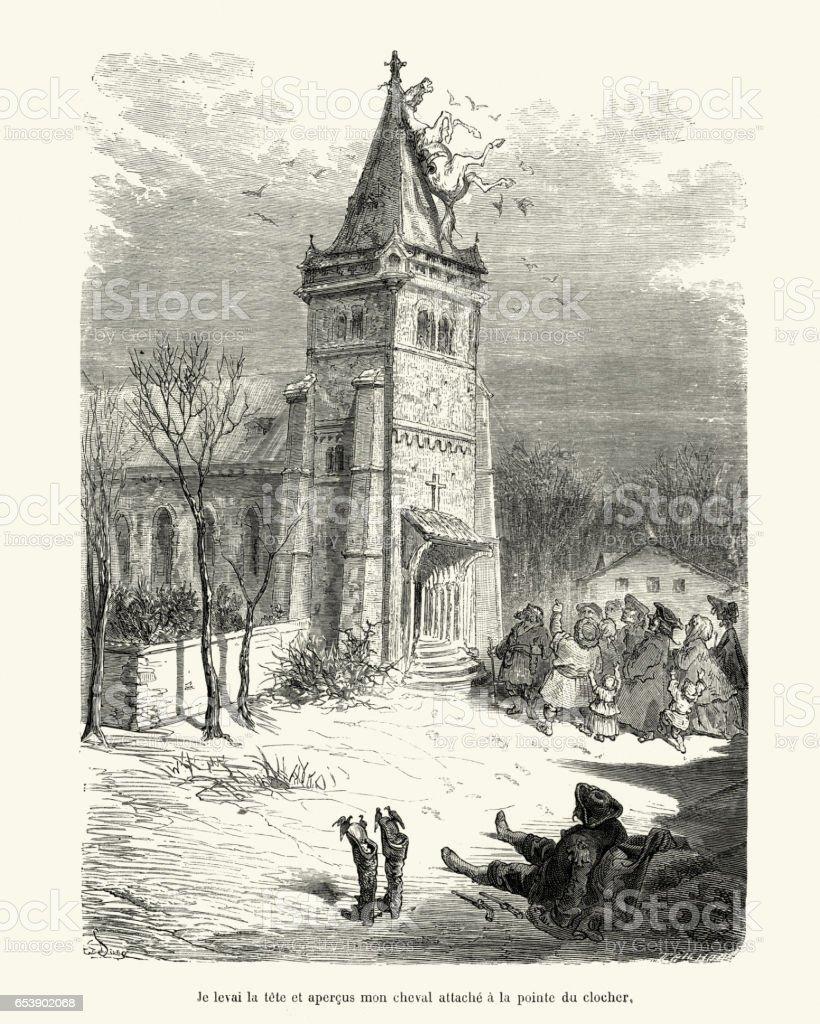 Adventures of Baron Munchausen by Gustave Dore vector art illustration